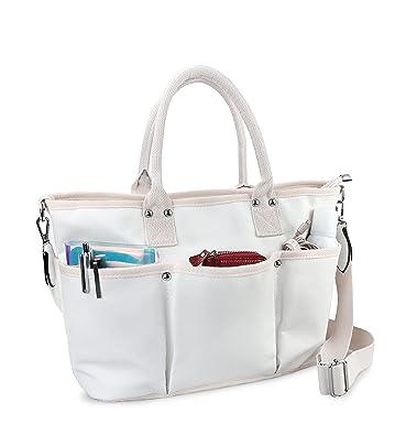 Amazon.com  Multi Pocket Canvas Zipper Tote Womens Weekender Shoulder  Handbag (Beige)  Shoes 9623775280