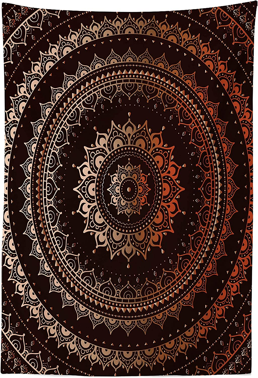 "Lunarable Mandala Tapestry, Enclosing Magic Circle Middle Eastern Egyptian Folkloric Culture Pattern, Fabric Wall Hanging Decor for Bedroom Living Room Dorm, 30"" X 45"", Brown Orange"
