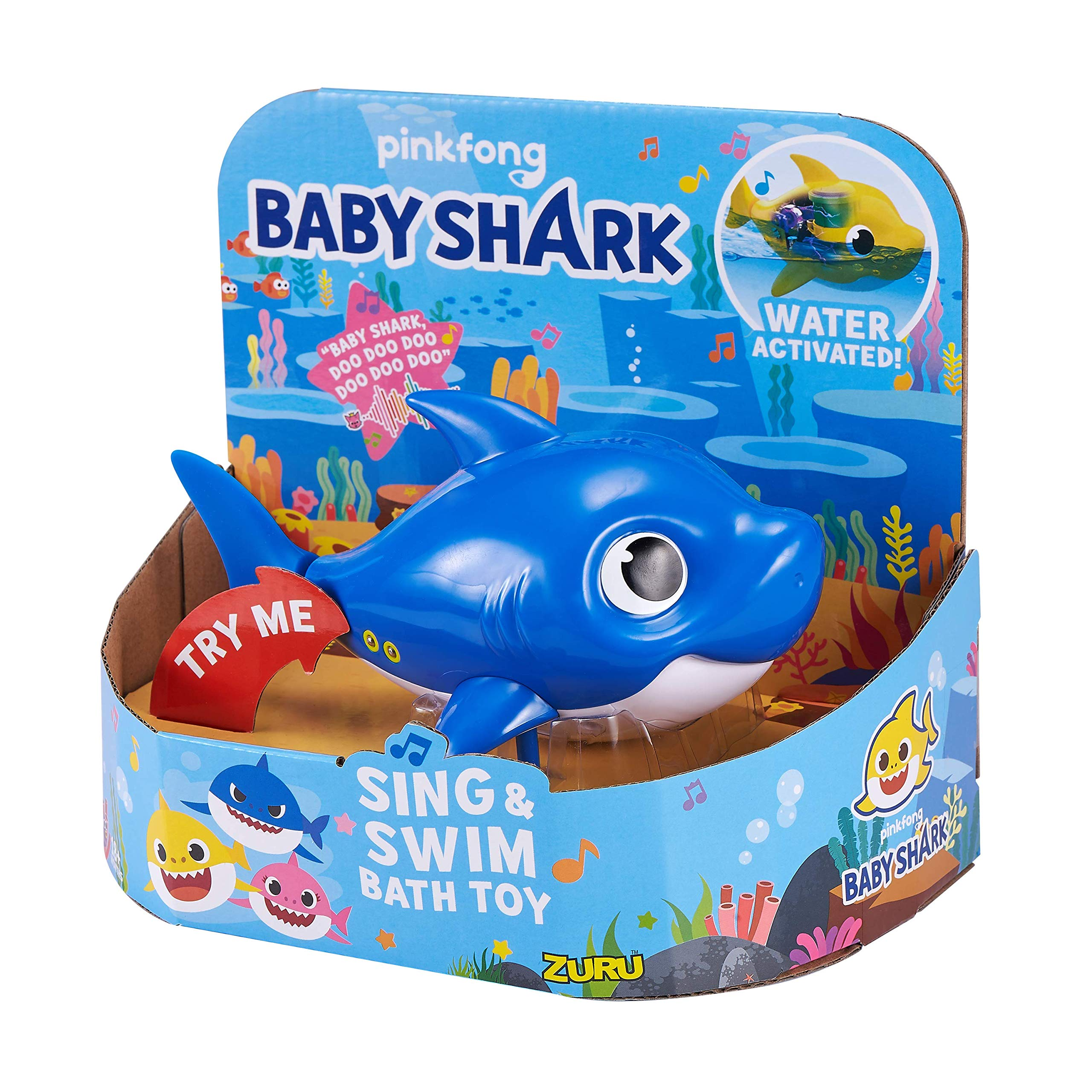 Robo Alive Junior Baby Shark Battery-Powered Sing and Swim Bath Toy by ZURU - Daddy Shark (Blue) by Robo Alive Junior (Image #2)