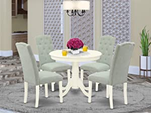 East West Furniture 5Pc Dining Set Includes a Small Round Dinette Table and Four Parson Chairs with Baby Blue Fabric, Linen White Finish