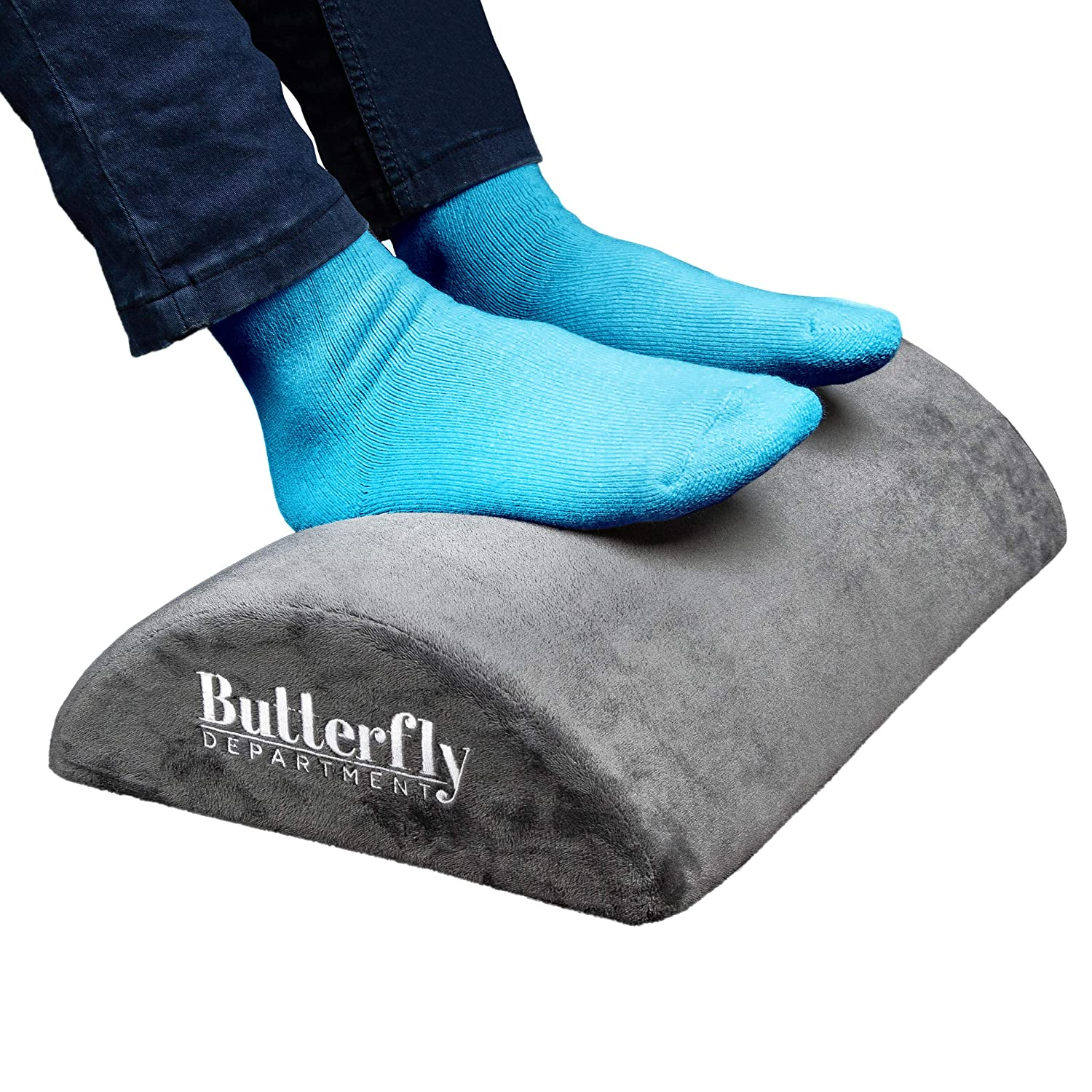 Foot Rest High Resilient Comfort Foam Ergonomic Foot Stool Non-Slip Bottom Soft Removable Cover Optimum Leg Clearance Footrest Cushion for Desk Foot Rest Under Desk Office and Home