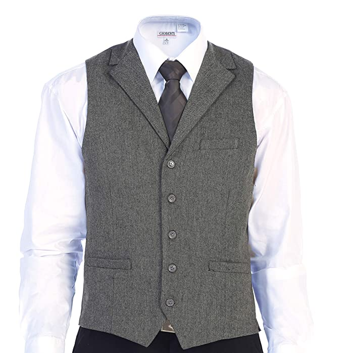 1920s Style Mens Vests Gioberti Mens 5 Button Tailored Collar Slim Fit Formal Herringbone Tweed Suit Vest  AT vintagedancer.com