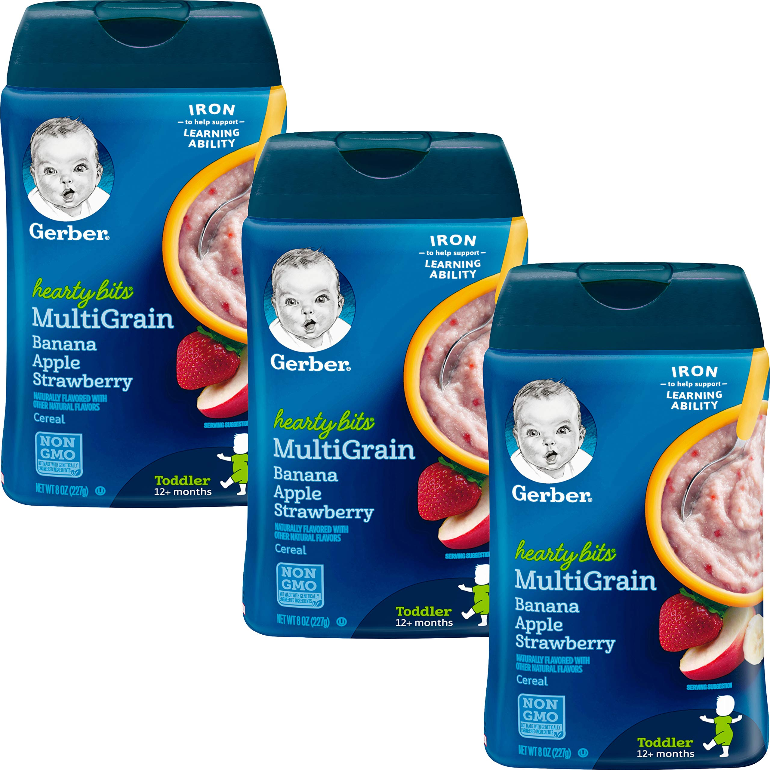 Gerber Baby Cereal Hearty Bits Multigrain Cereal Banana Apple Strawberry, 8 Ounce (Pack of 3) by Gerber