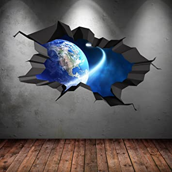Amazing SPACE PLANETS UNIVERSE GALAXY WORLD CRACKED 3D   WALL ART STICKER BOYS DECAL  MURAL NEW8 Part 7