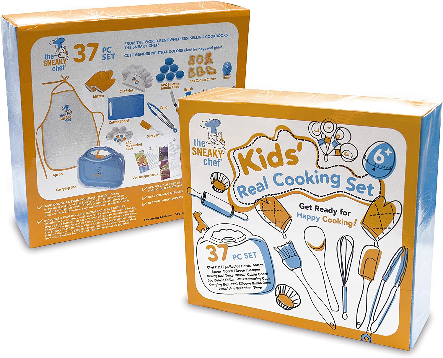 Cookie Cutters Child-Safe Essential Junior Utensils Storage Case The Sneaky Chef Kids Cooking//Baking Set 35 Piece BPA Free Ages 6+ and 7 Healthy Recipe Cards Cooking Protection