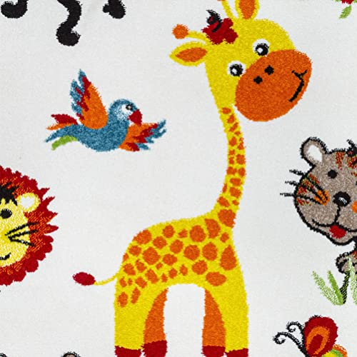 KC Cubs Happy Animal Nursery Friends Boy and Girl Bedroom Modern D cor Area Rug and Carpet Collection for Kids and Children