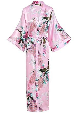 BABEYOND Damen Morgenmantel Maxi Lang Seide Satin Kimono Kleid Pfau ...