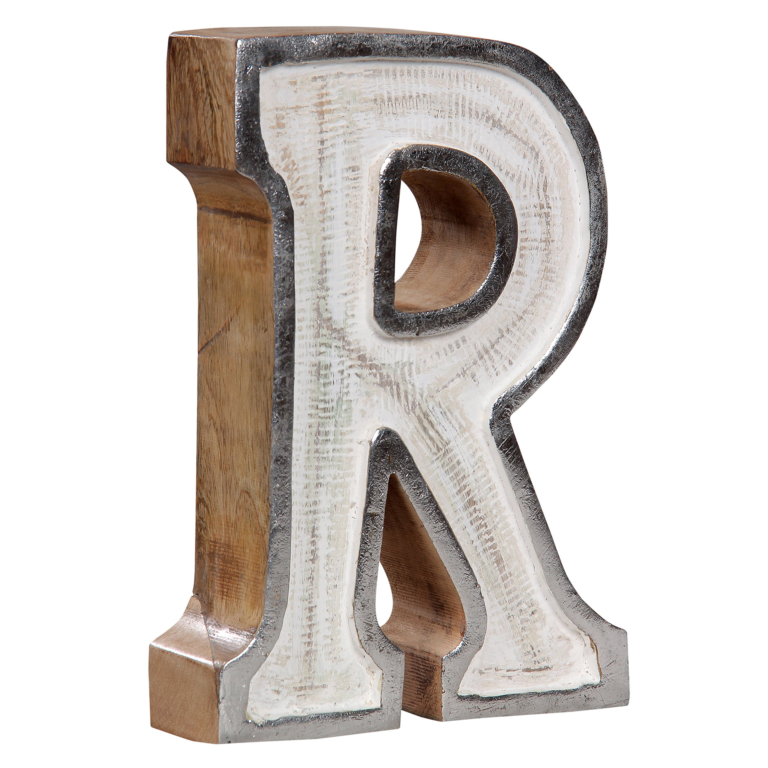 Luxe Collection 689354146086 Free Standing White Filled Letter Block''R''