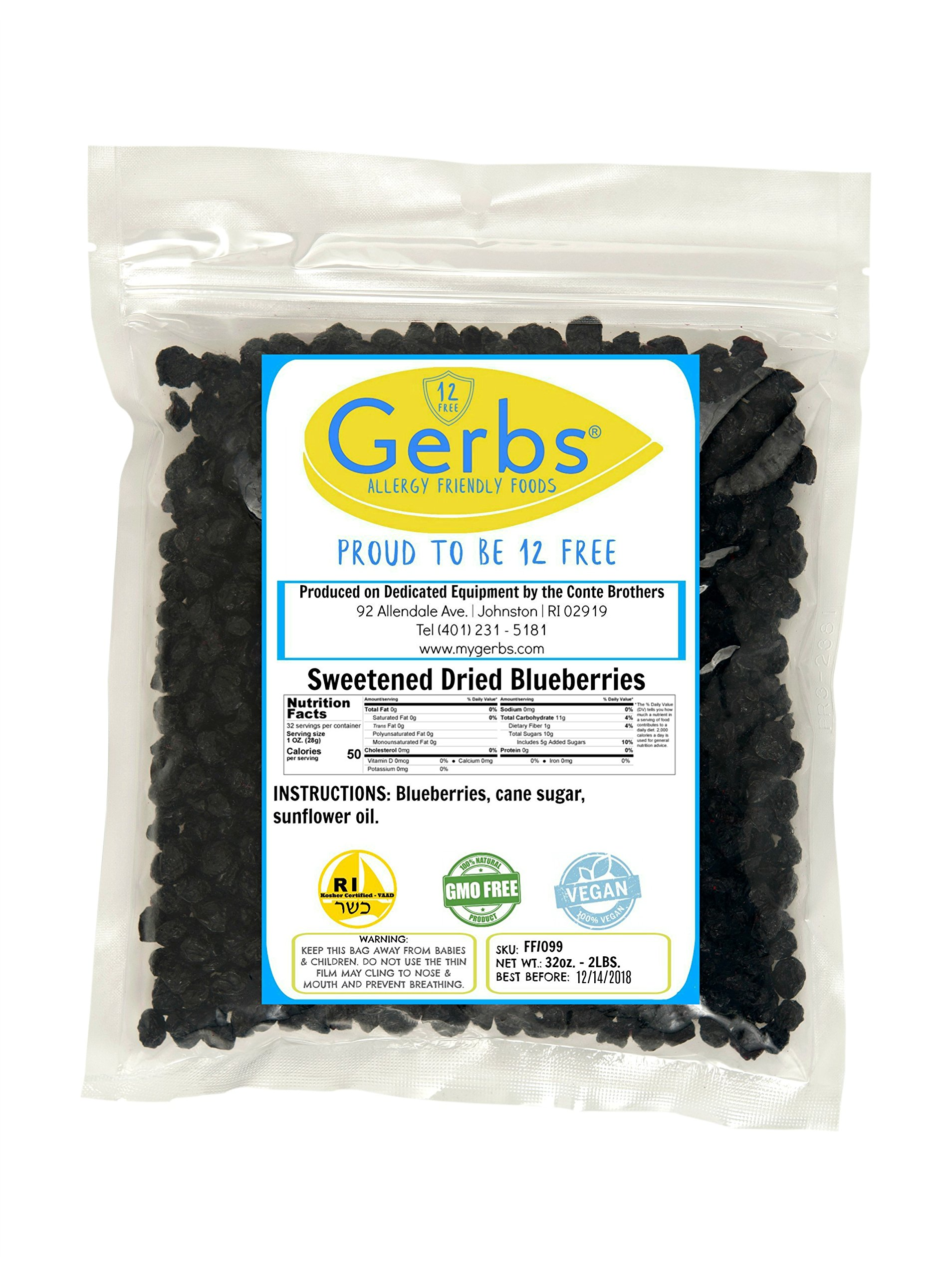 Dried Cape Cod Blueberries, 2 LBS Sweetened - Unsulfured & Preservative Free - Top 12 Food Allergy Free & NON GMO - Product of USA by Gerbs