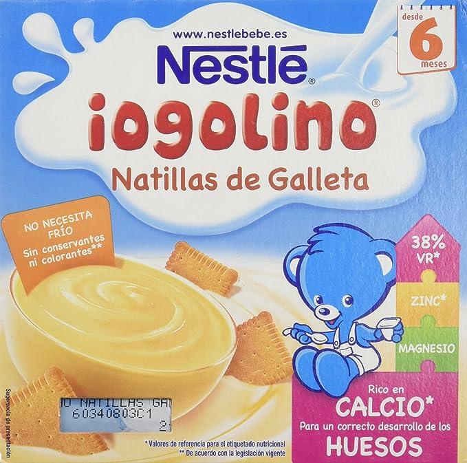 Nestlé iogolino Alimento infantil, natillas con galleta - Paquete de 4 x 100 gr -
