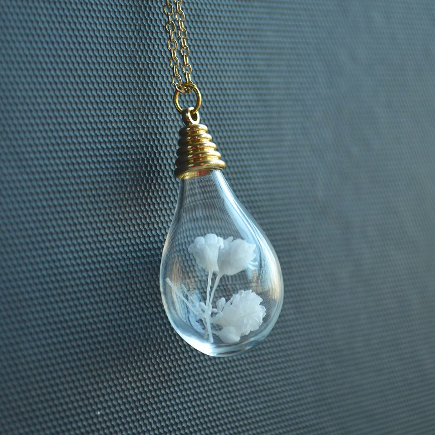 White Blooming Babysbreath Real Flower In Glass Water Drop 18K Gold Plated Long Necklace 26 Length