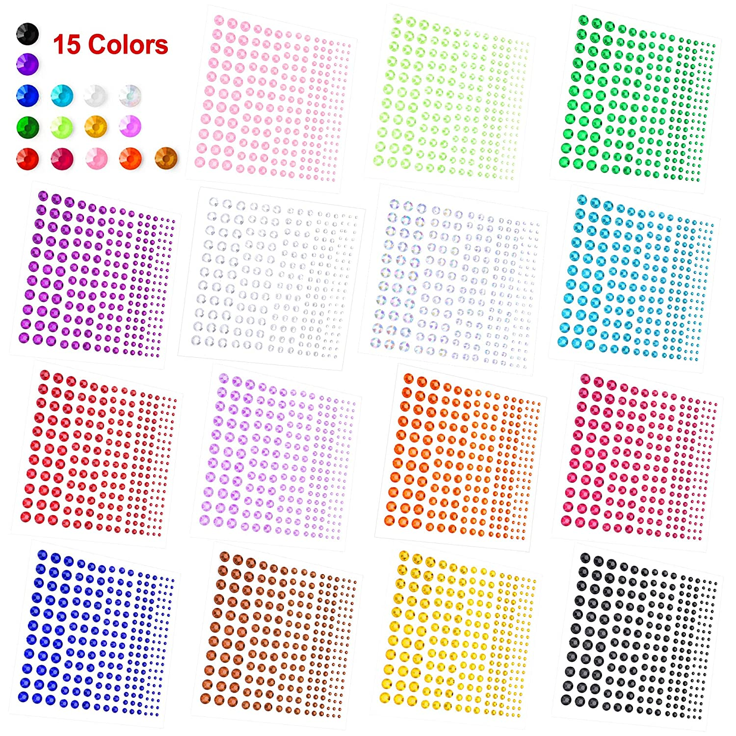 Festival Carnival Makeup Phogary Self-Adhesive Rhinestone Sticker 3375 Pieces Crystal in 5 Size 15 Colors Bling Craft Jewels Gem Stickers for Crafts DIY Nails Body