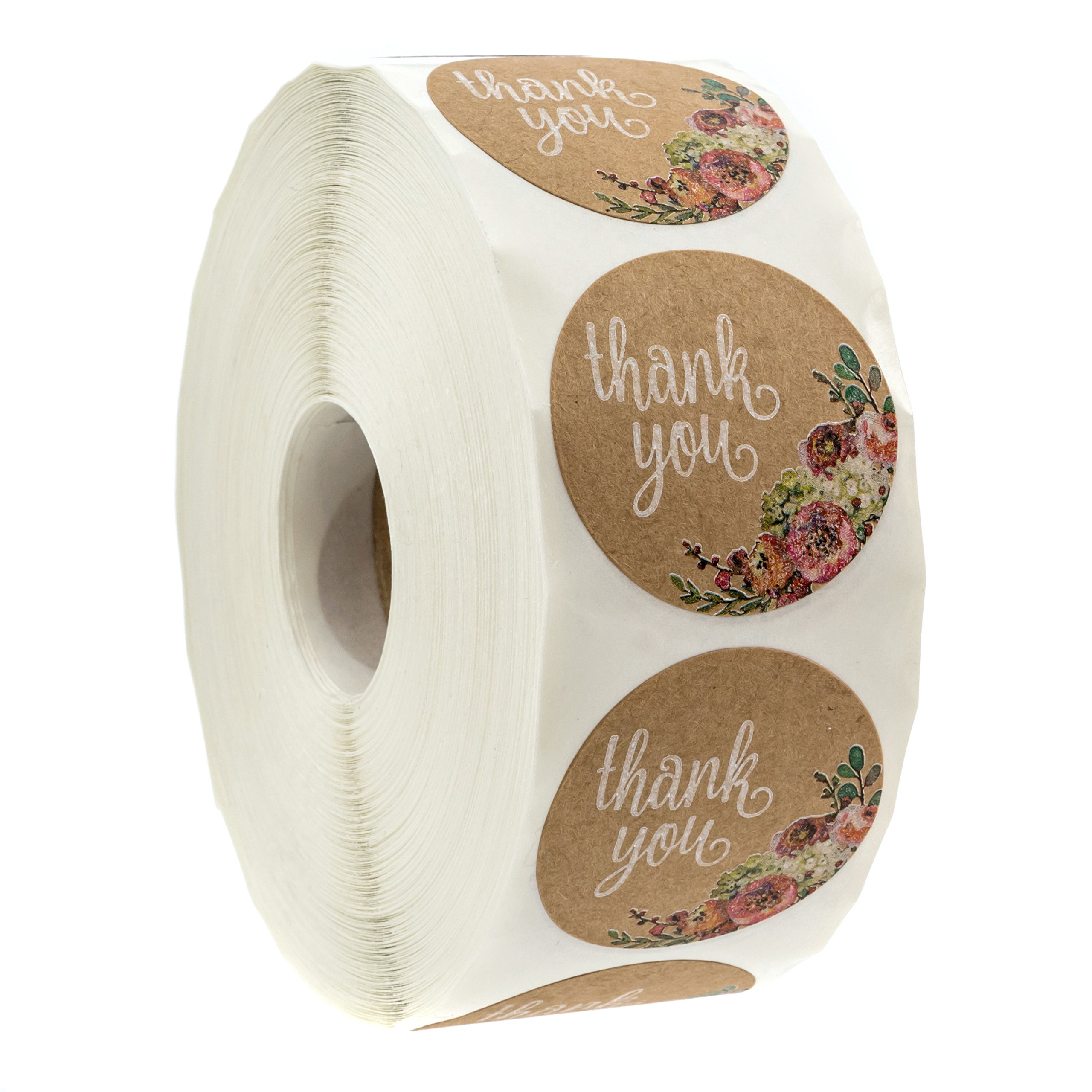 Brown Kraft Floral Thank You Stickers - 1.5'' Circle Labels / 1000 per Pack