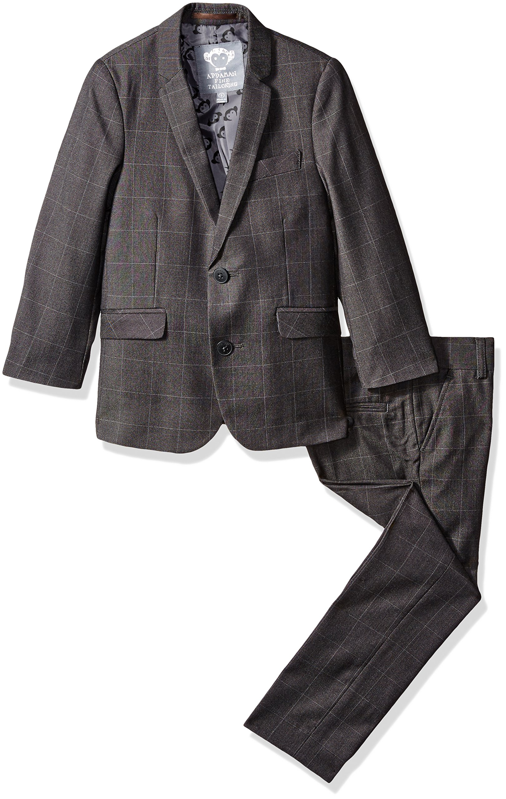 Appaman Boys' Big Boys' MOD Suit, Charcoal Windowpane, 12 by Appaman
