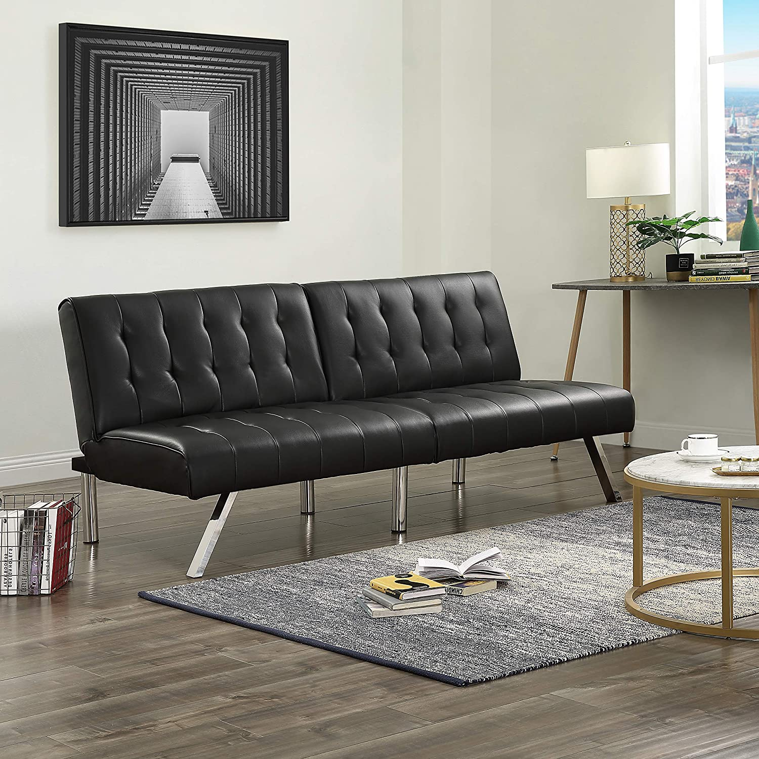 Black Faux Leather One Size, Modern Couch with Chrome Legs Quickly Converts into a Bed MHG Futon Sofa