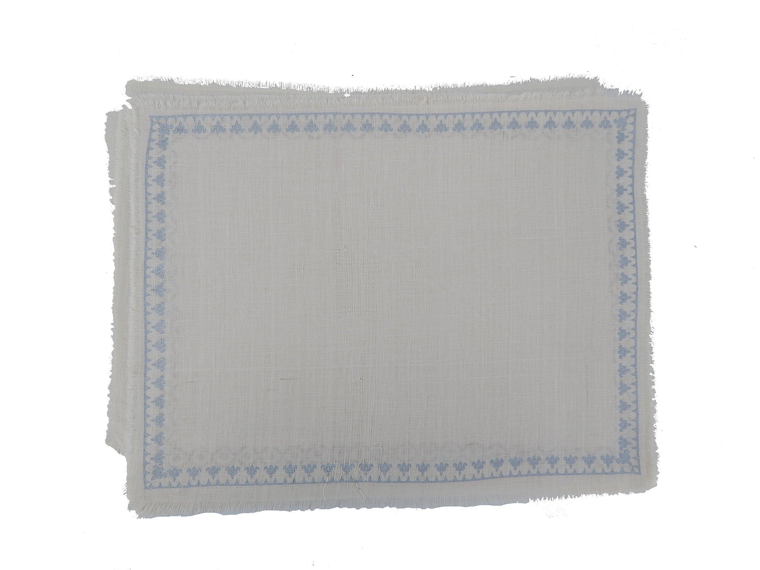 Gitika Goyal Home Cotton Khadi Silver Hand Block Printed Flower Border Design Mat (Set of 4), 13 by 17 '', Cream by Gitika Goyal Home