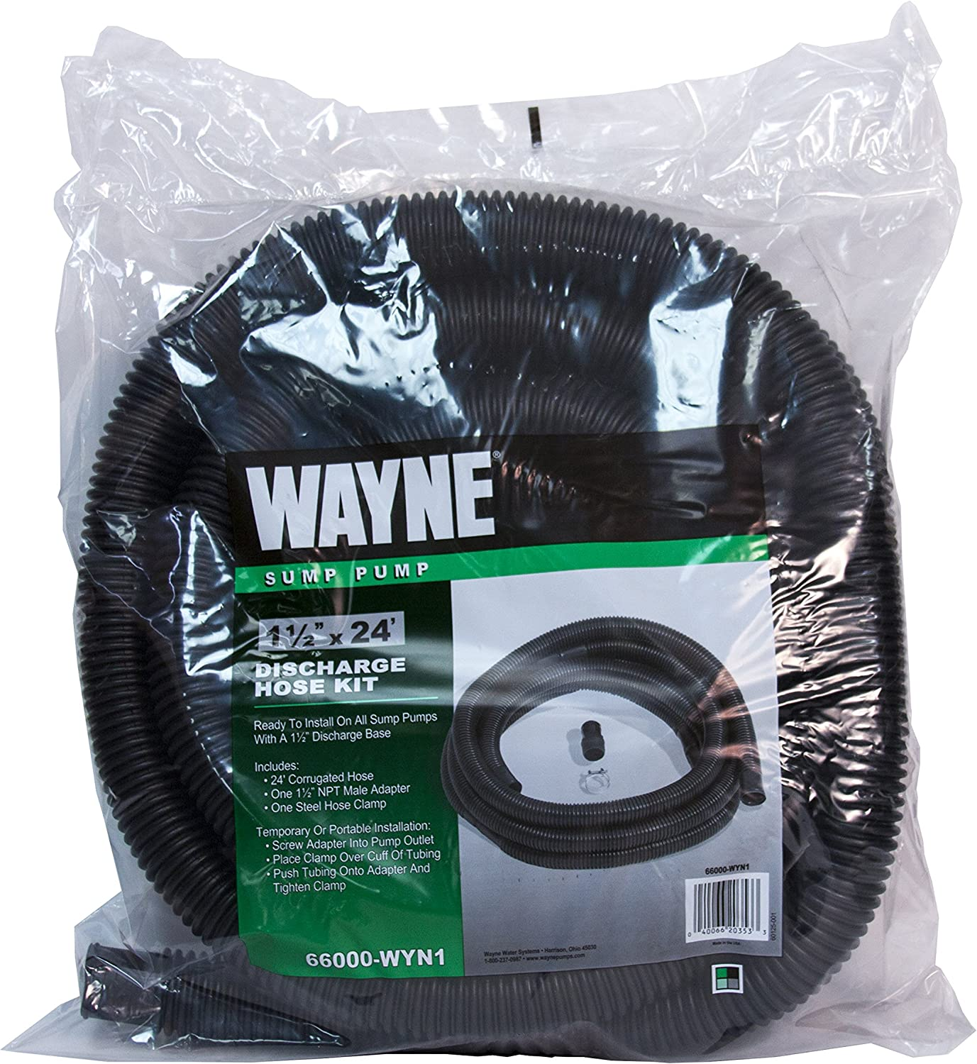 Sump Discharge Hose Kit With Clamps by 24 ft WAYNE 66000-WYN1 1-1//2 in