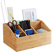 Relaxdays Bambu masa düzenleyici, 6 bölmeli, kalemlik, mektup tutuculu, A5, ofis düzenleyici YBT 14 x 28 x 19,5 cm…
