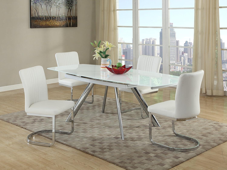 Milan Aliyana 5 Piece Self-Storing Extension Dining Set with White Chairs