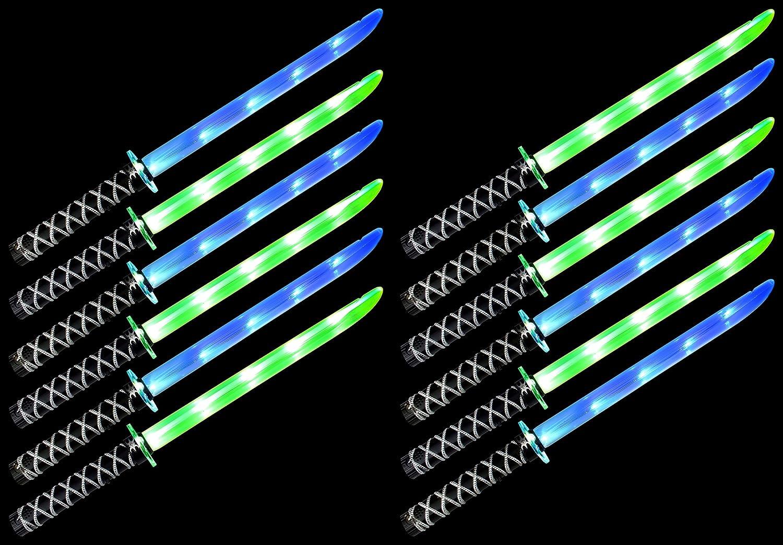 Set of 12 VT Ninja Samurai Katana Flashing LED & Clanging Sounds Party Favor Toy Light Up Sword Sabers (Colors May Vary)