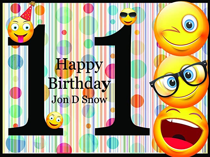 Personalized Emoji Party Supplies Happy Birthday Decorations 11th Poster Backdrop