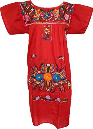 peasant dress Campesino Mexican dresses Mexican embroidered dress strapless dress Puebla embroidered dress pink Mexican dress woman