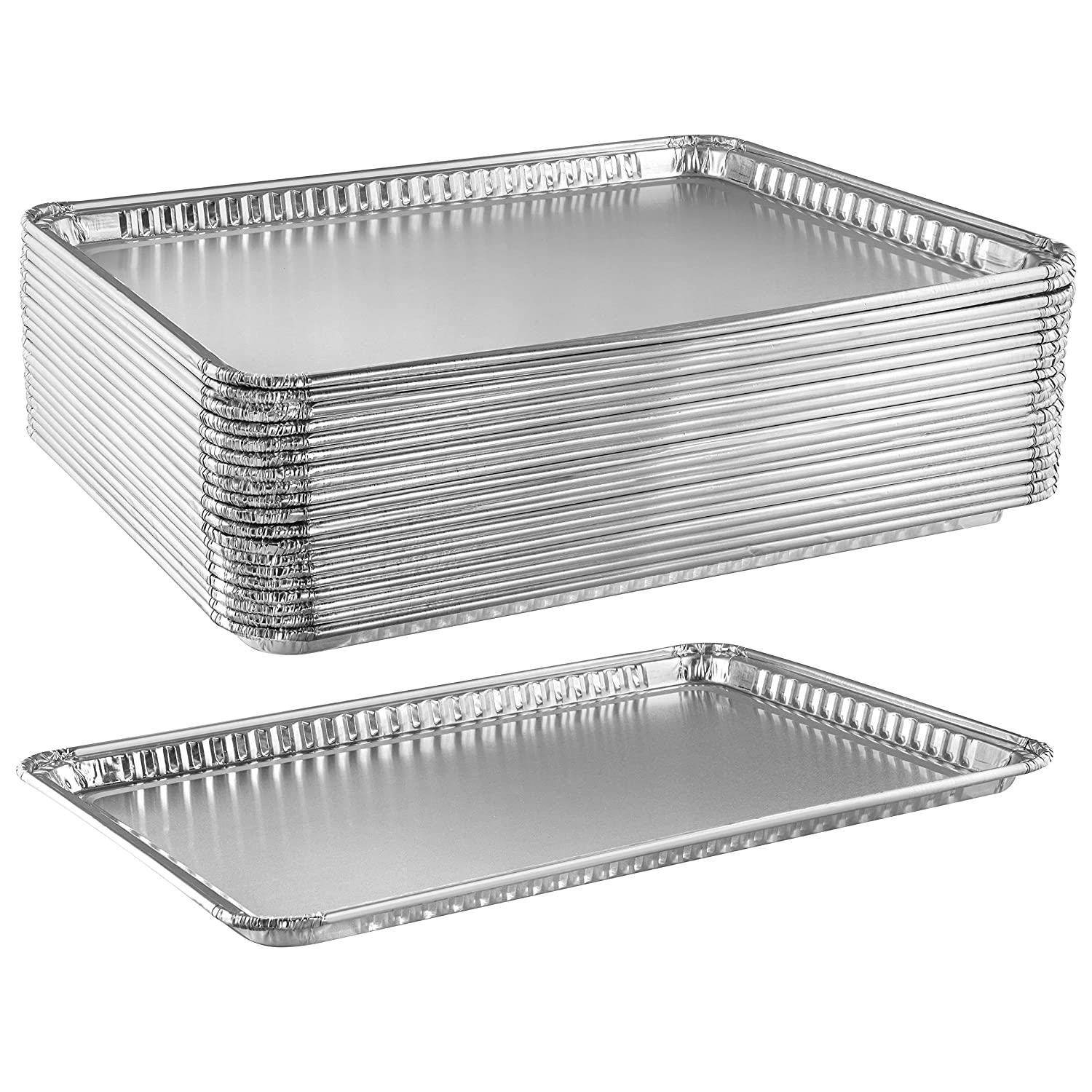 Aluminum Pan Cookie Sheets | Heavy Duty Nonstick Disposable Baking Trays for Cookies, Bacon, Brownies | Rectangular Foil Pans for Oven, Broiler, Cooking, Grilling, Catering | 16 x 11 Inch, 20 Pack