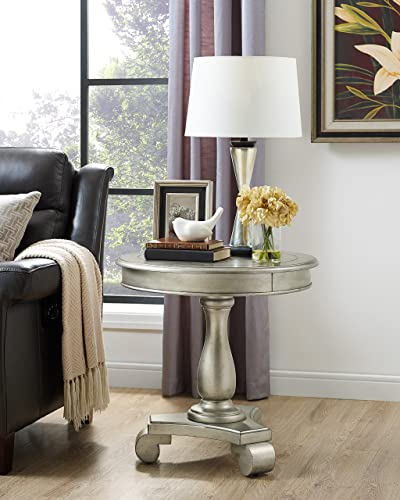 Roundhill Furniture Rene Contemporary Wood Pedestal Side Table, Champagne