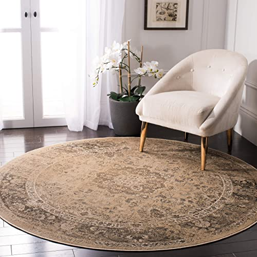 Safavieh Vintage Premium Collection VTG113-660 Transitional Oriental Warm Beige Distressed Silky Viscose Round Area Rug 6' Diameter