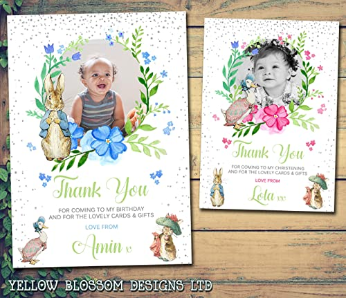 Thank you cards Girl+Boy Personalised peter rabbit Christening invitations