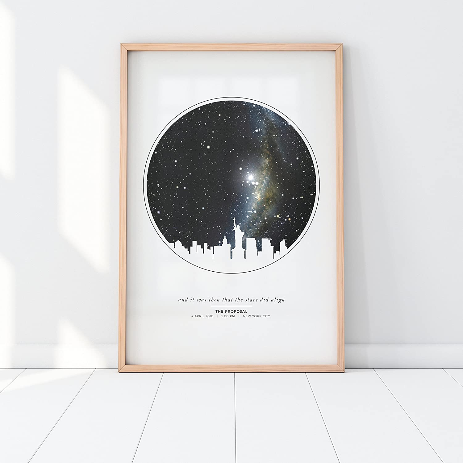 "Image result for This custom star map print makes the perfect piece to mark any significant life event, be it a birthday, wedding, anniversary, ""day we met,"" and more. See your night sky as it was at that very moment that changed your life. Your star map poster will show the stars exactly as they were at that location on that date–and even that time, if you wish!"