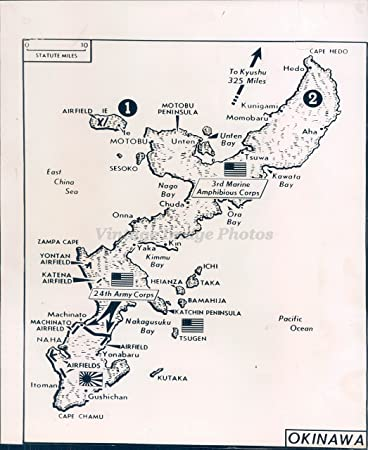 1945 Photo WW2 Era Okinawa Maps Army Corps Motobu Peninsula Airfields  Military