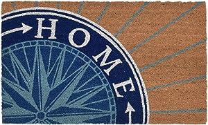 """Liora Manne Natura Nautical Compass Natural Outdoor Welcome Coir Door Mat, 1'6"""" x 2'6"""""""