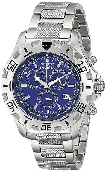 Invicta Watch - Reloj cronógrafo de cuarzo para hombre con correa de acero inoxidable, color plateado: Amazon.es: Relojes