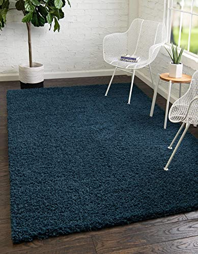 Unique Loom Solo Solid Shag Collection Modern Plush Navy Blue Area Rug 8' 0 x 10' 0