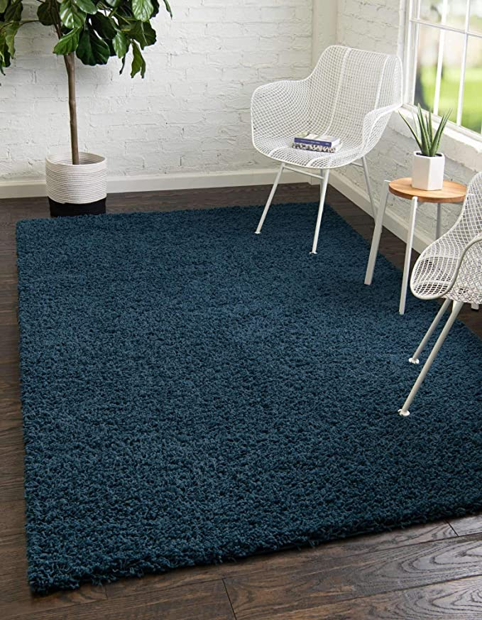 Unique Loom Solo Solid Shag Collection Modern Plush Navy Blue Area Rug 155 X 245 Amazon Co Uk Kitchen Home