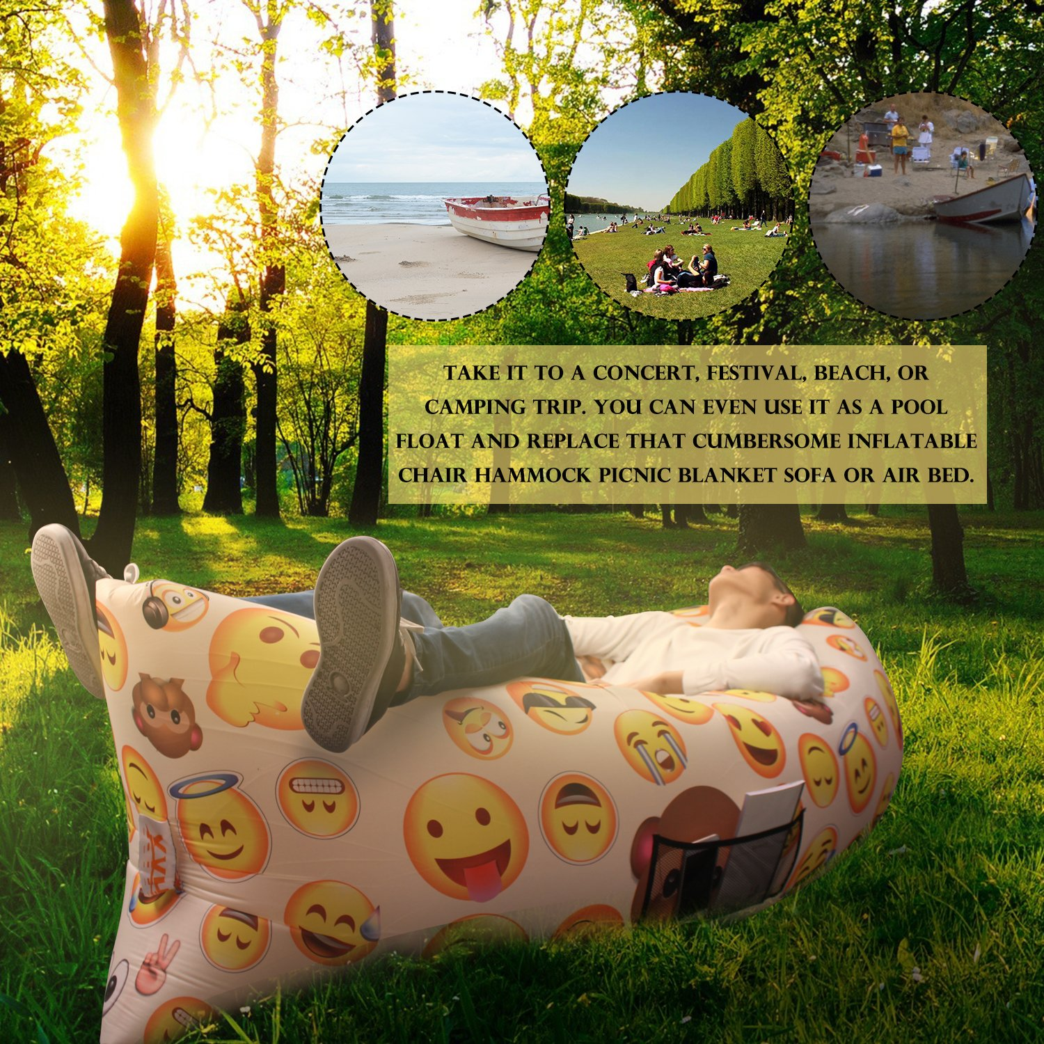 inflatable garden furniture. XYH Emoji Outdoor Inflatable Couch, Waterproof (210T) Fast Inflate Lounger For Beach: Amazon.ca: Sports \u0026 Outdoors Garden Furniture Y