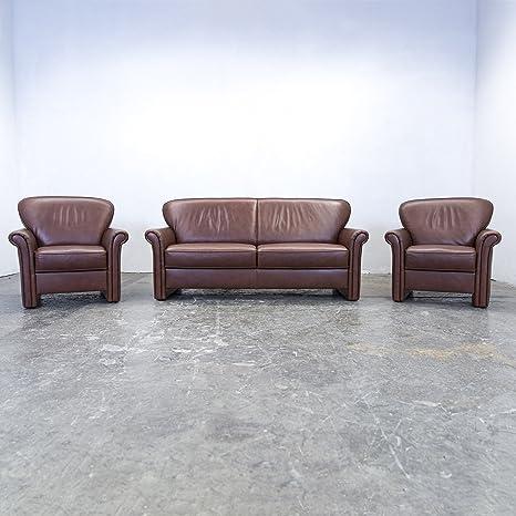 Gepade Akadzor Designer Sofa Garnitur Leder Braun Zweisitzer Sessel