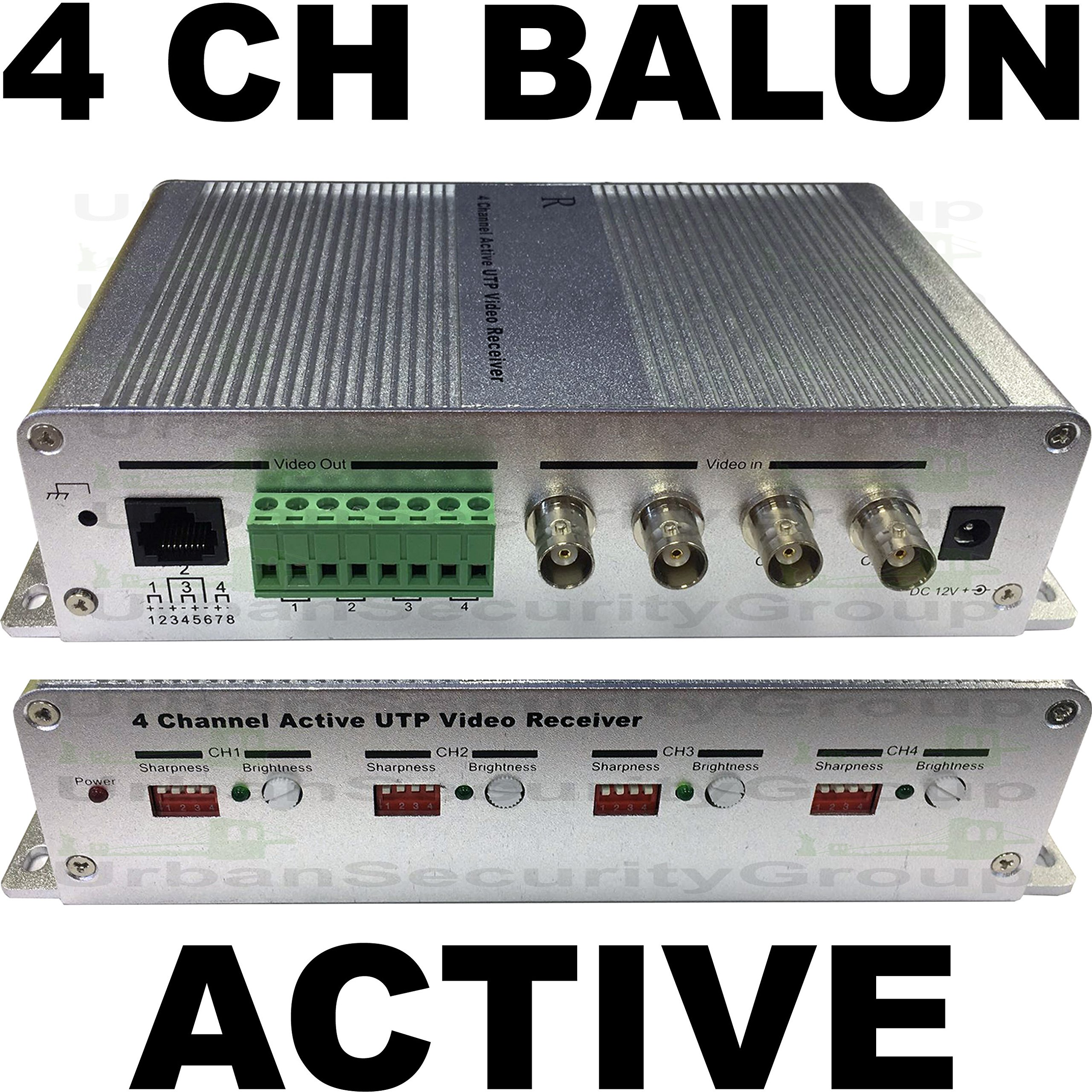 USG Premium 4 Channel ACTIVE Balun Receiver :: BNC + RJ45 2-Pin Solid + Power Terminals :: Bright Sharp Jumpers :: Video Over UTP Ethernet Network Cable Up to 5,000 Feet Color Transmission Distance