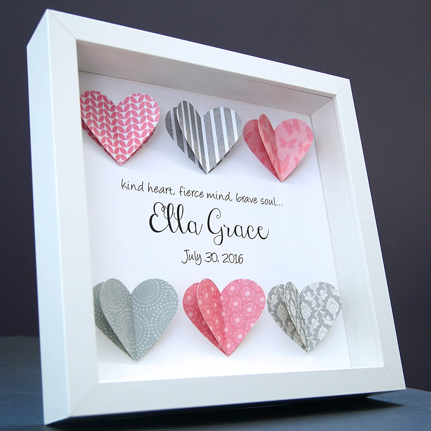 Personalized Name Baby Gift 3D Paper Hearts Shadowbox Frame Custom Art Newborn Baby Girl Shower Nursery Gift