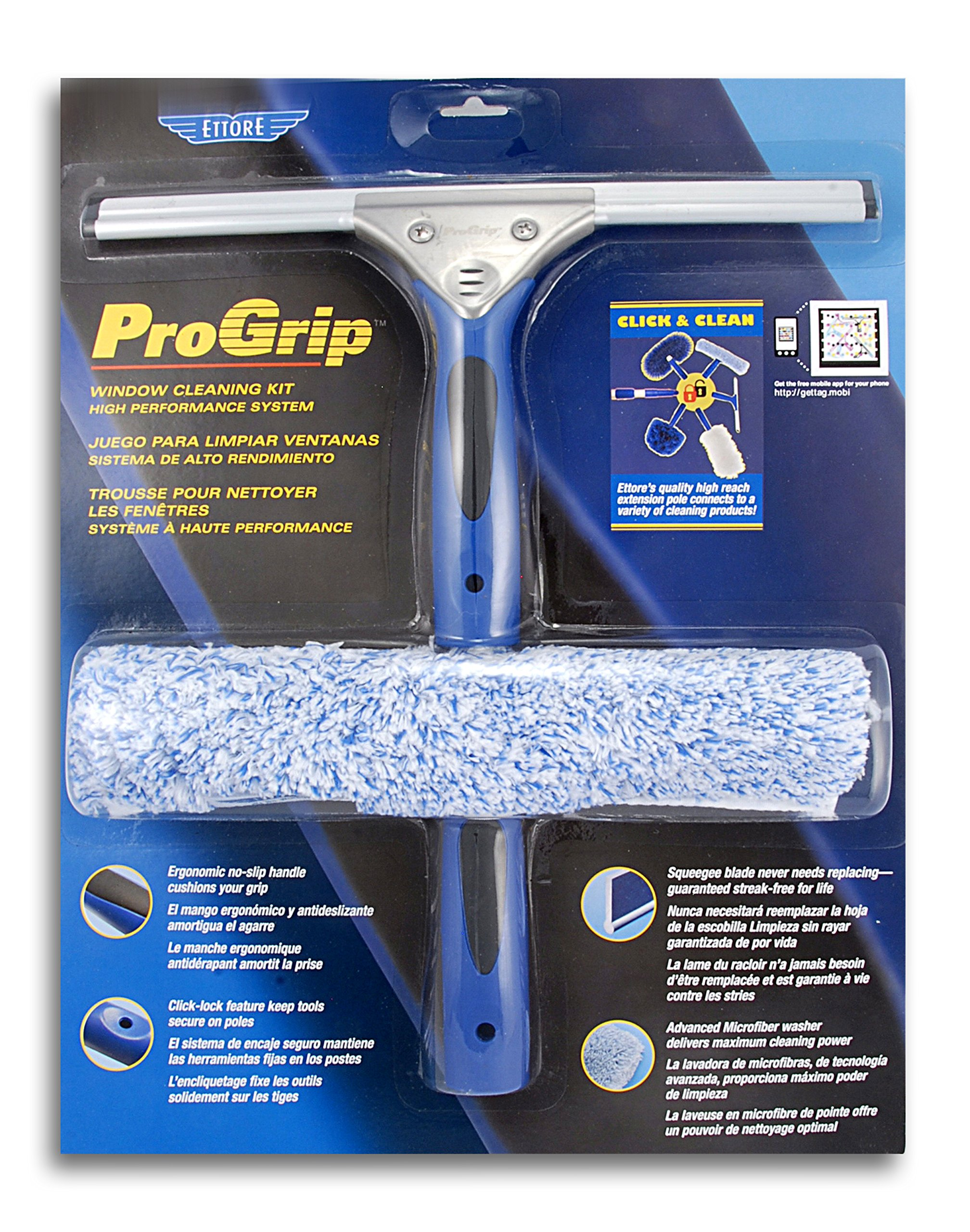 Ettore 65000 Professional Window Cleaning Kit 12 Squeegee and 10-Inch ProGrip Microfiber Washer,
