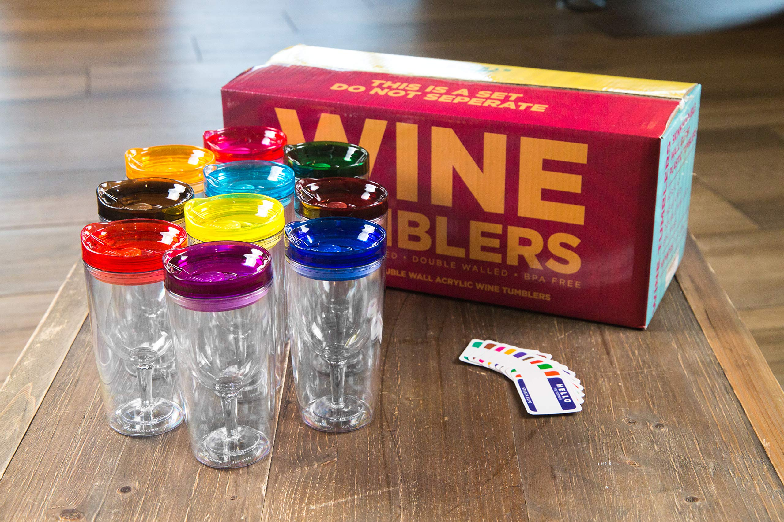 Insulated Wine Tumbler With Lid (SET OF 10) +BONUS Name Decals | Outdoor Acrylic Plastic Wine Glasses | 10oz Cup Tumblers in 10 Colors - Adult Sippy | Unbreakable Stemless Wine Glass by STRATA CUPS (Image #2)