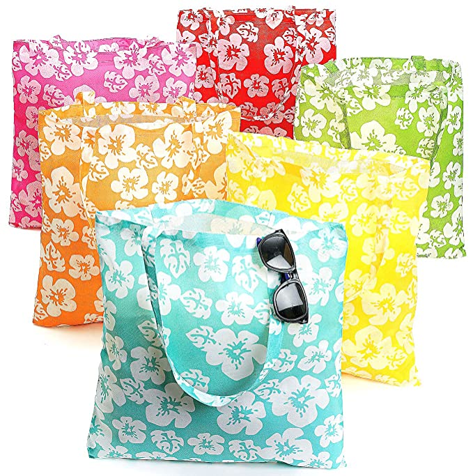 Amazoncom Lot Of 12 Large Hibiscus Hawaiian Luau Pool Party Tote