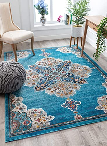 Well Woven Adrian Blue Vintage Bohemian Medallion Design Area Rug 4×6 3 11 x 5 3