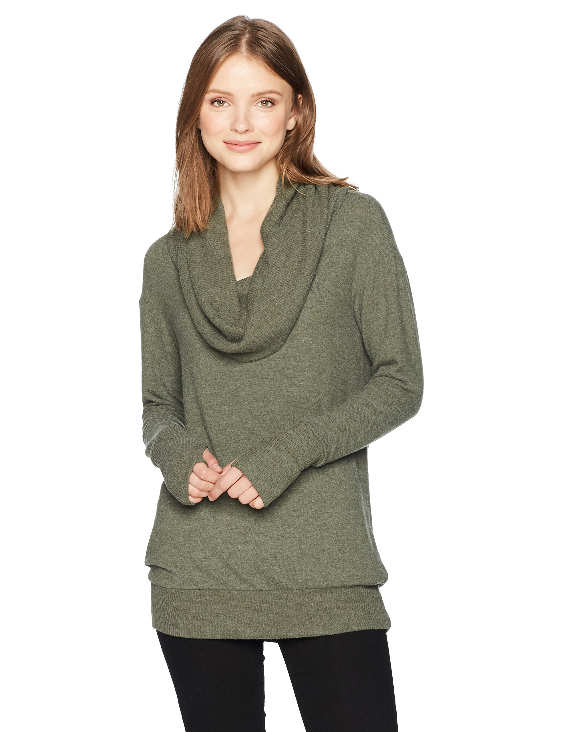 Michael Stars Women's Madison Brushed Jersey Long Sleeve Convertible Top, Heather Loden, L