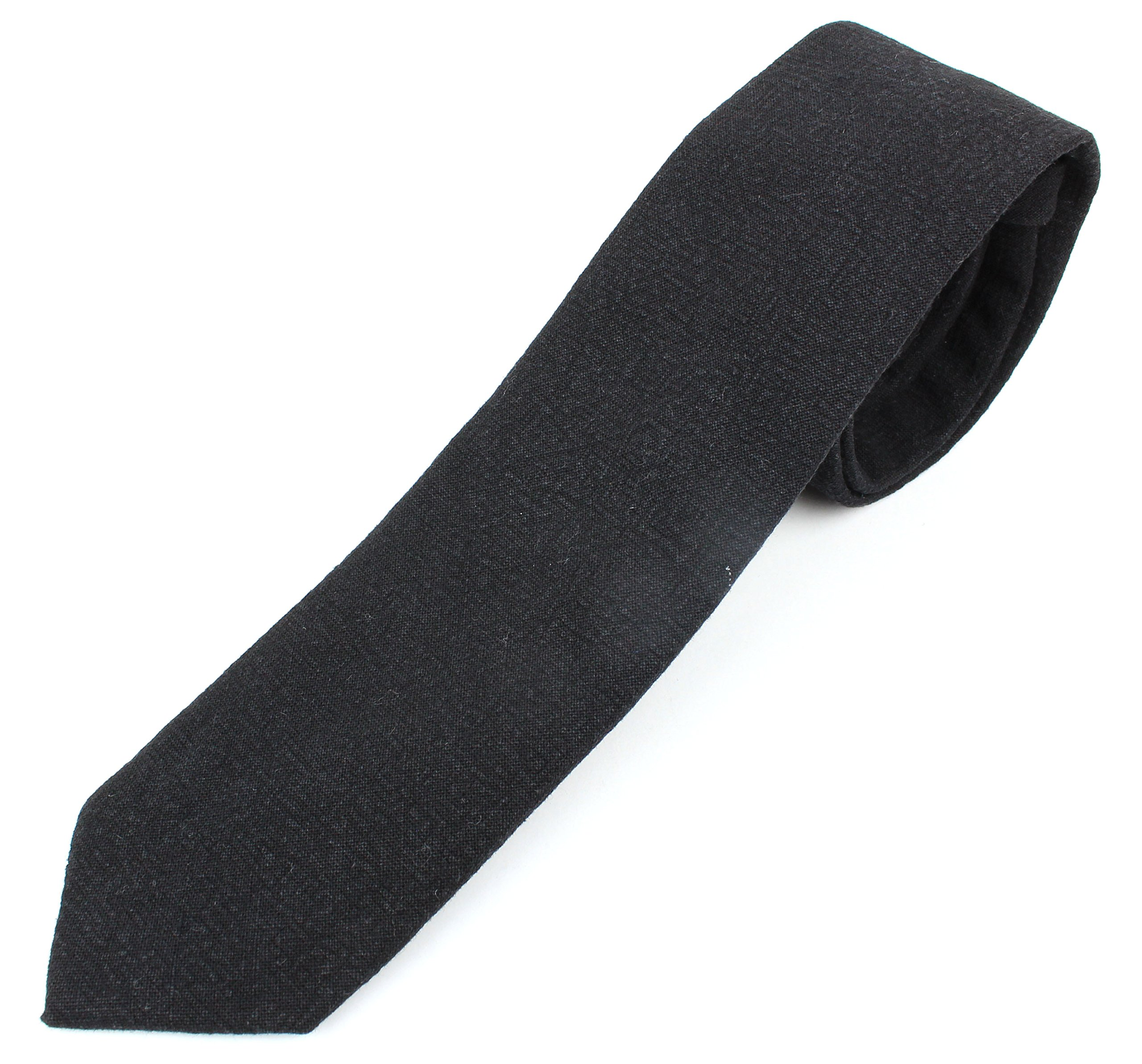 Men's Skinny Necktie Tie Textured and Distressed Finish - Black
