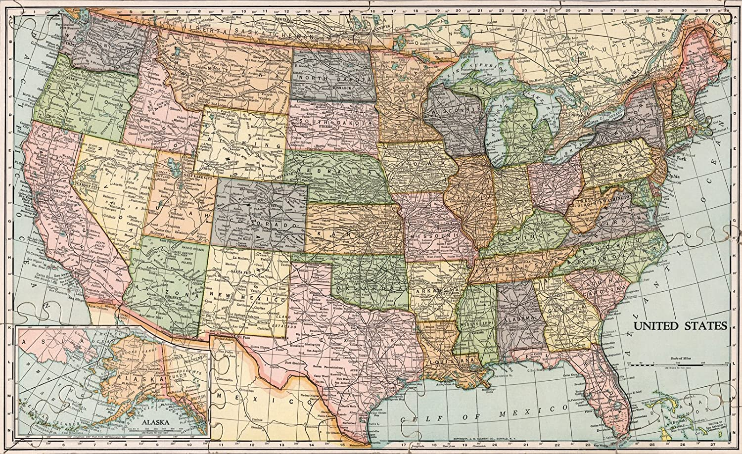 Amazon.com: Historic Map | United States map. Die-Cut on State Lines ...