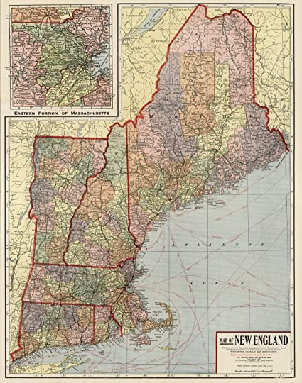 Amazon.com: VintPrint Map Poster - New England - 24\