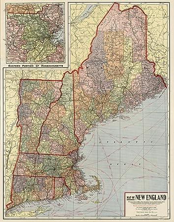 Amazon.com: VintPrint Map Poster - New England - 24\
