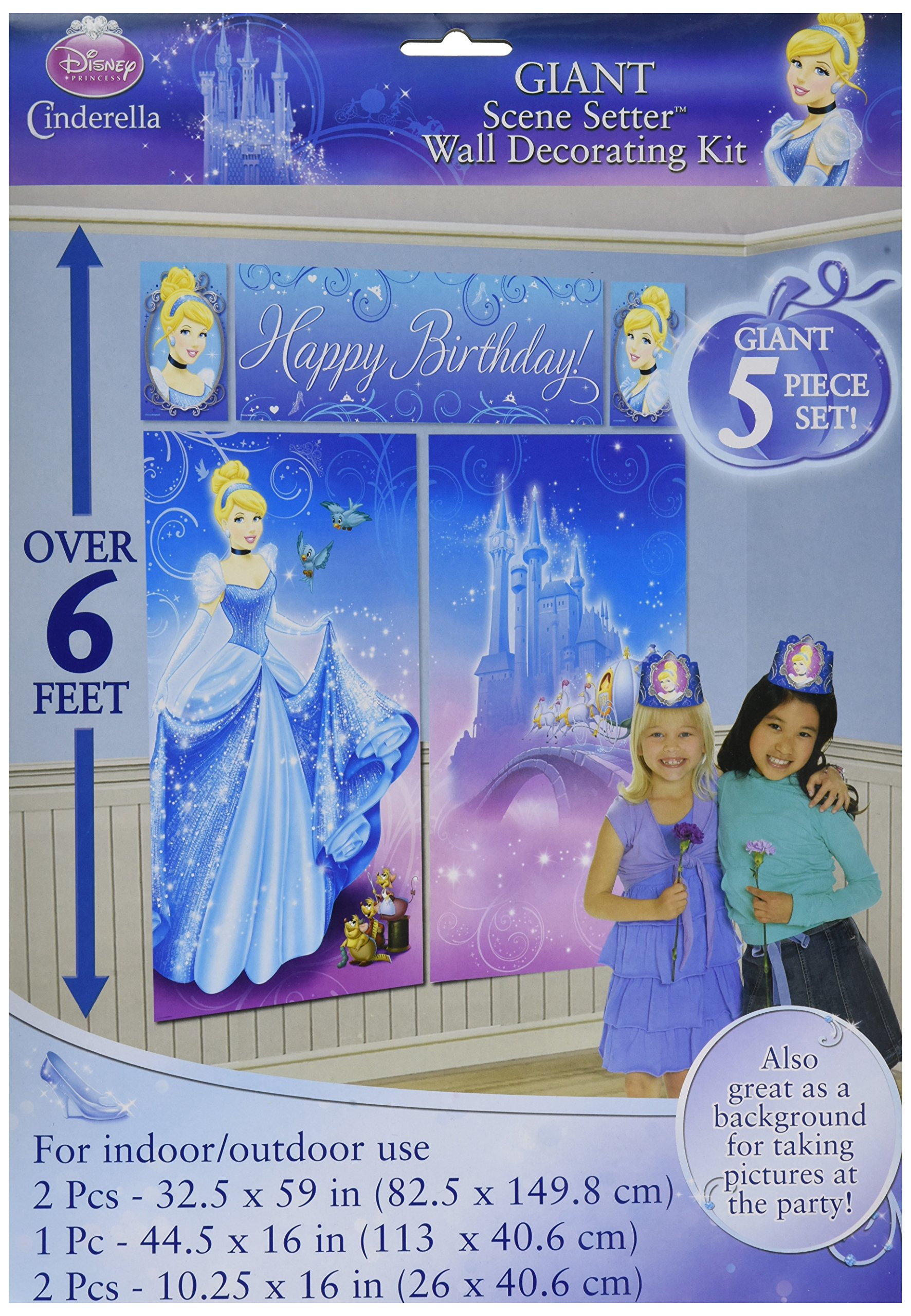Amscan Disney Cinderella Birthday Party Scene Setters (5 Pack), Blue. Others Supplies , 60 Pieces by Amscan